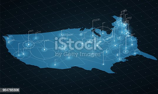 istock USA map big data visualization. Futuristic map infographic. Information aesthetics. Visual data complexity. Complex USA data graphic visualization. Abstract data on map graph. 954765306