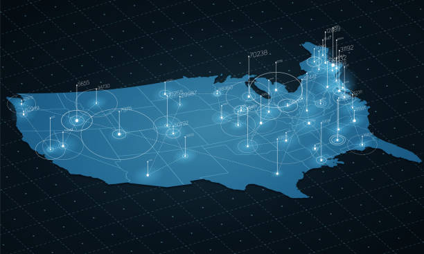 abd harita büyük veri görselleştirme. fütüristik harita infographic. bilgi estetik. görsel veri karmaşıklığı. karmaşık abd veri grafik görselleştirme. soyut veri harita grafik üzerinde. - abd stock illustrations
