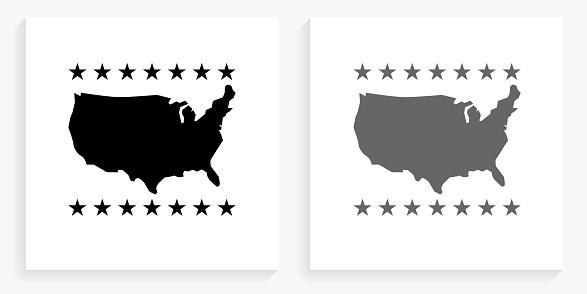 U.S.A Map  Black and White Square Icon