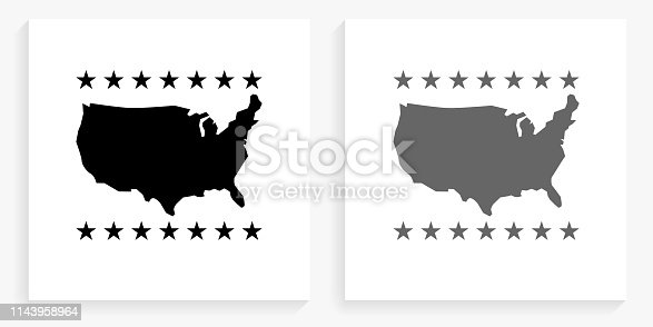 U.S.A Map  Black and White Square Icon. This 100% royalty free vector illustration is featuring the square button with a drop shadow and the main icon is depicted in black and in grey for a roll-over effect.. This 100% royalty free vector illustration is featuring the square button with a drop shadow and the main icon is depicted in black and in grey for a roll-over effect.