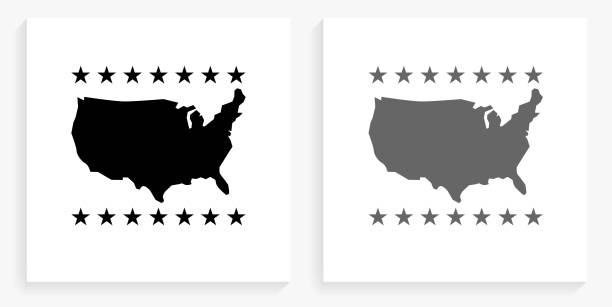 U.S.A Map  Black and White Square Icon vector art illustration