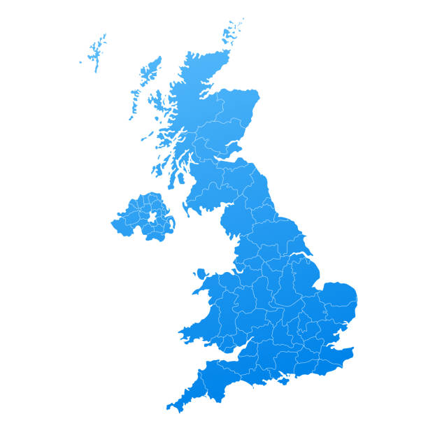 map blue of united kingdom vector - zjednoczone królestwo stock illustrations