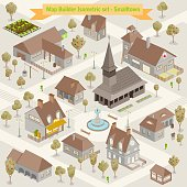 Map builder isometric set in vector format illustration of a small town buildings and houses architecture cartography style