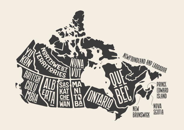 Map Canada. Poster map of provinces and territories of Canada Map Canada. Poster map of provinces and territories of Canada. Black and white print map of Canada for t-shirt, poster or geographic themes. Hand-drawn black map with provinces. Vector Illustration british columbia stock illustrations