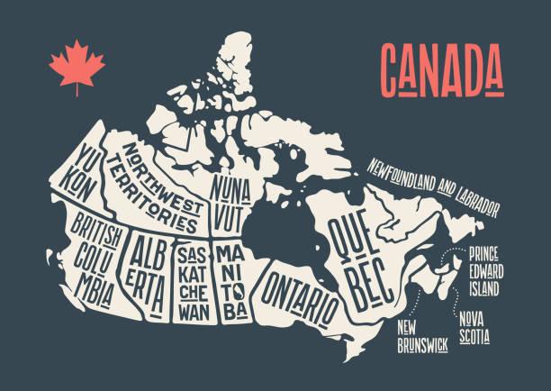stockillustraties, clipart, cartoons en iconen met kaart canada. poster kaart van provincies en territoria van canada - canada