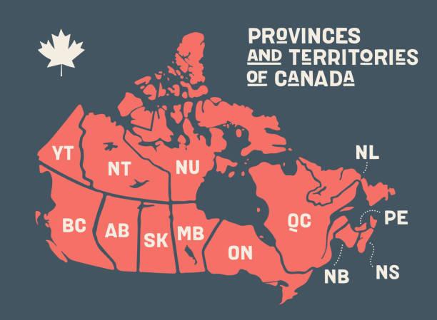 mapa kanada. mapa plakatu prowincji i terytoriów kanady - kanada stock illustrations