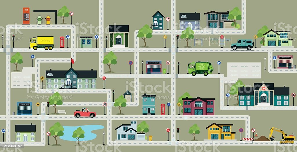 Map city streets with traffic signs. vector art illustration