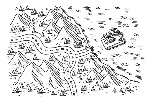 Map Coast Landscape Arrival Of Ferry Drawing