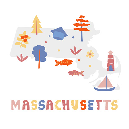 USA map collection. State symbols on gray state silhouette - Massachusetts