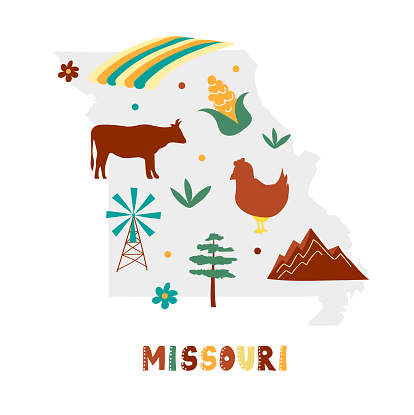 USA map collection. State symbols on gray state silhouette - Missouri