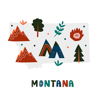 USA map collection. State symbols on gray state silhouette - Montana