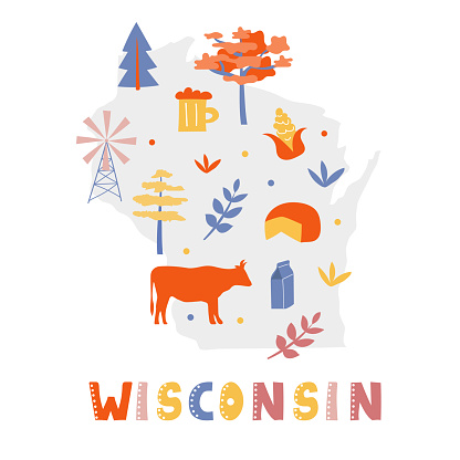 USA map collection. State symbols on gray state silhouette - Wisconsin