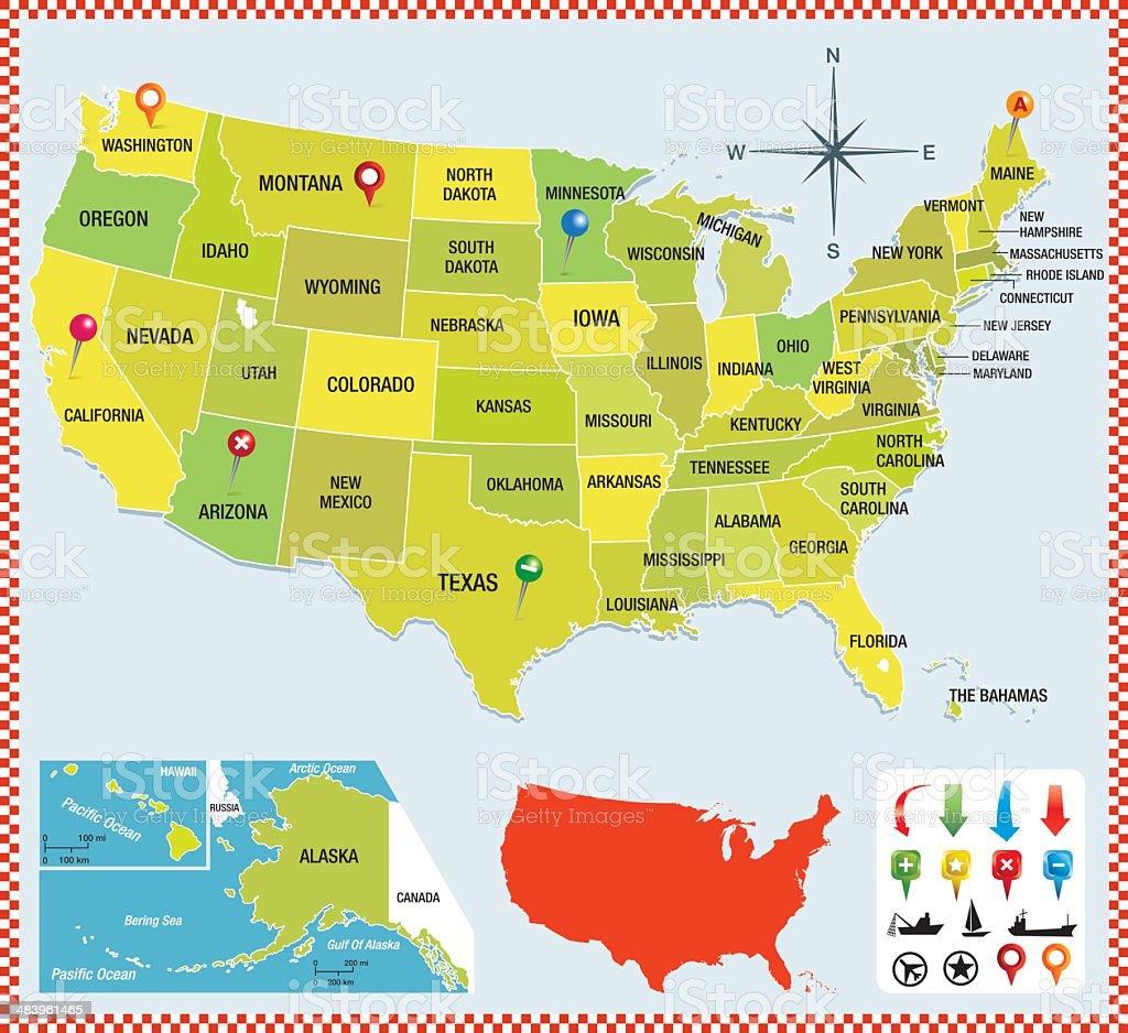USA map colorfull royalty-free stock vector art