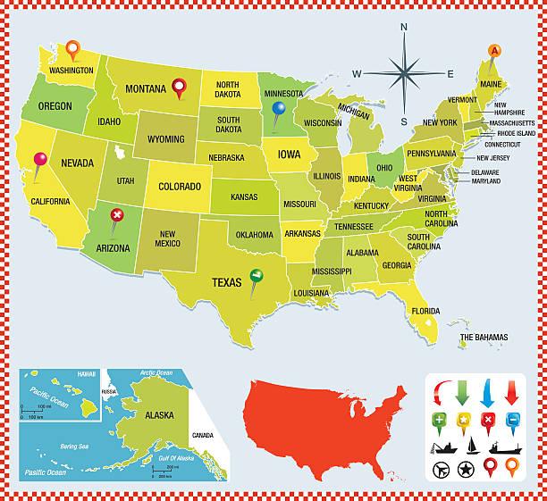 USA Karte colorfull – Vektorgrafik