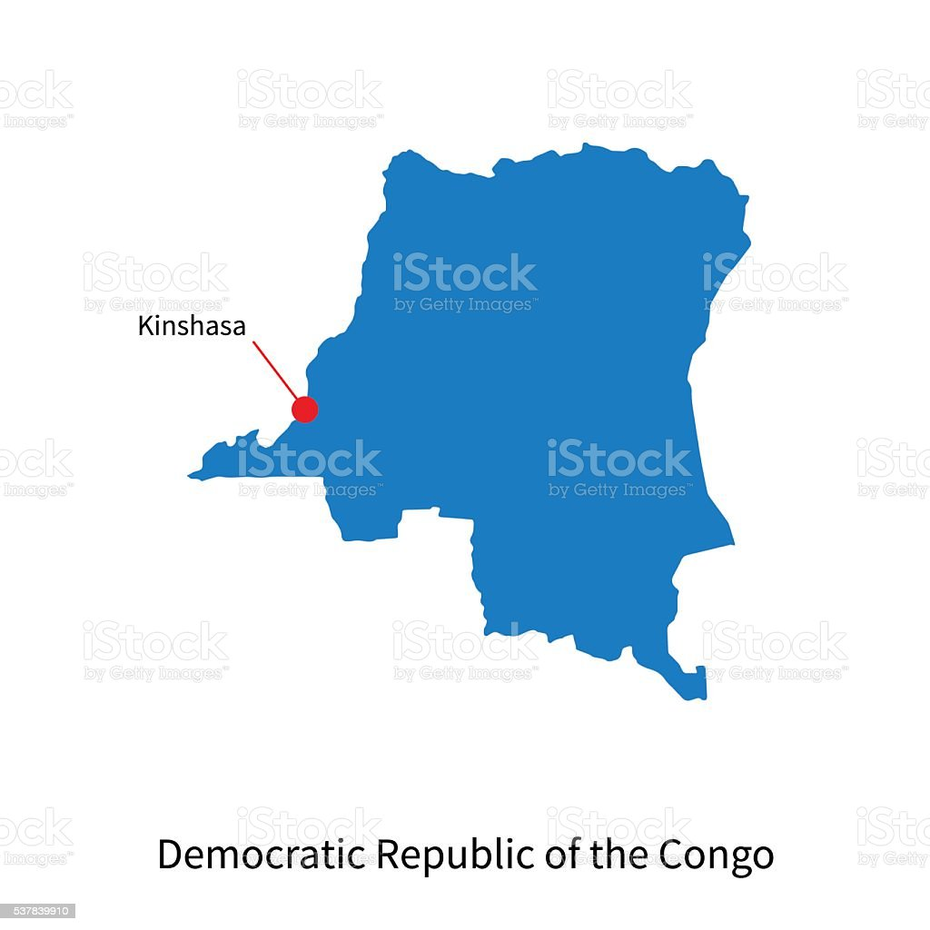 Map Democratic Republic Of The Congo And Capital City Kinshasa Stock