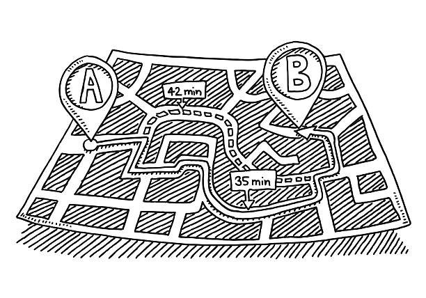 Map Direction From A To B Drawing Hand-drawn vector drawing of a City Map with a Direction From A To B. A second option is shown in a dotted line. Black-and-White sketch on a transparent background (.eps-file). Included files are EPS (v10) and Hi-Res JPG. transportation stock illustrations