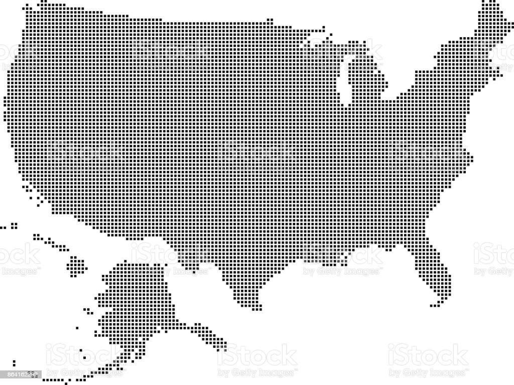 USA map dots. Dotted US map vector outline. Highly detailed pixelated United States map in black and white illustration background royalty-free usa map dots dotted us map vector outline highly detailed pixelated united states map in black and white illustration background stock vector art & more images of abstract