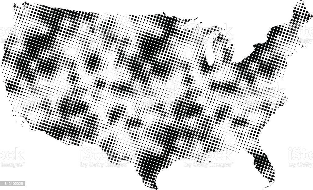 Usa Map Dots Dotted Us Map Vector Outline In Black And White - Us map outline vector