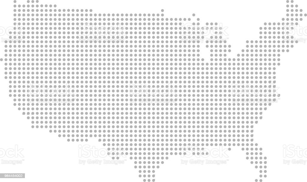 Usa Map Dots Vector Outline Faded Gray Background Stock Illustration