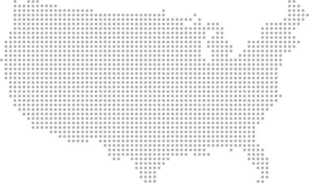 USA map dots vector outline faded gray background This abstract dotted map of USA is accurately prepared using the overlaid vector map of the US with highly detailed information. america stock illustrations