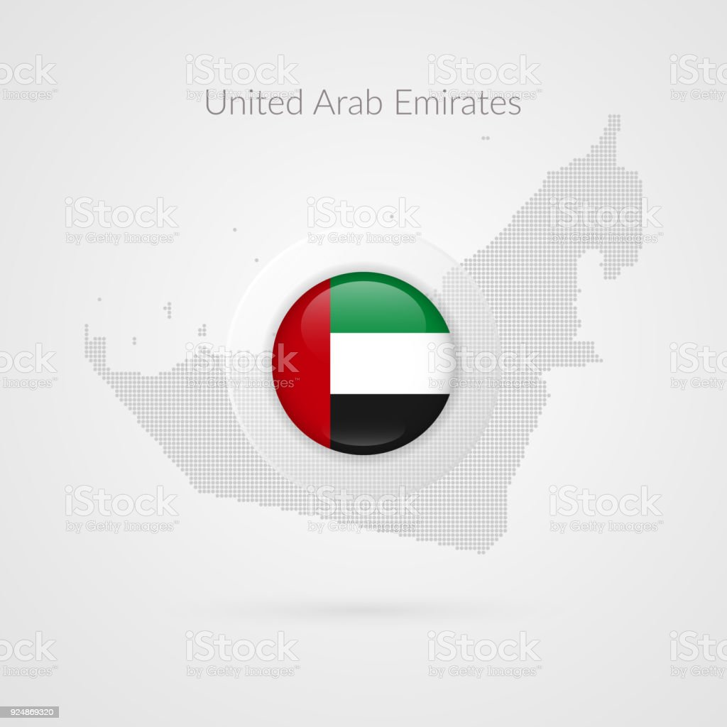 Uae Map Dotted Contour Vector Sign United Arab Emirates Flag Circle