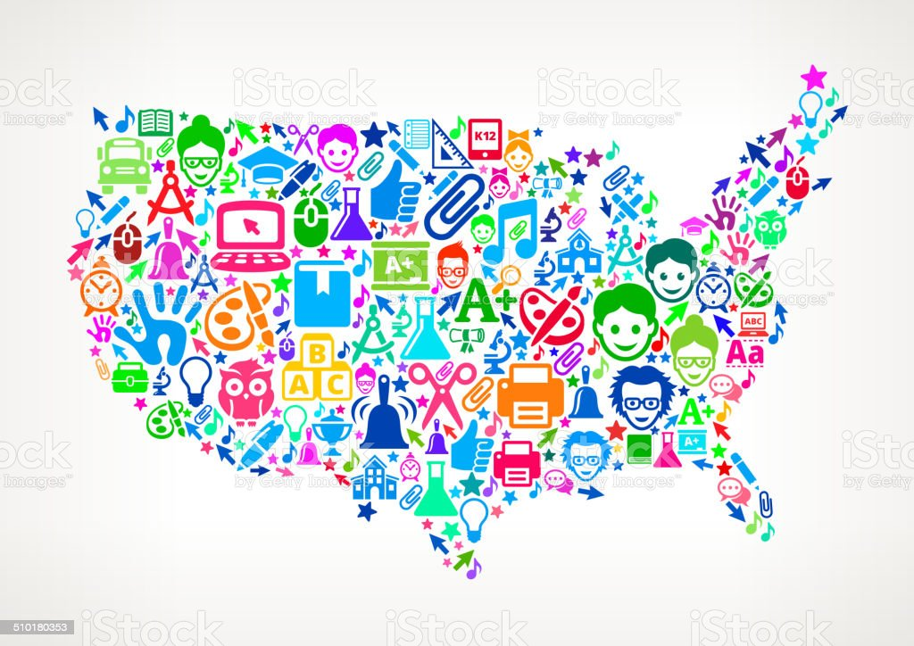 Usa Map Education School Royalty Free Vector Art Pattern Stock ...