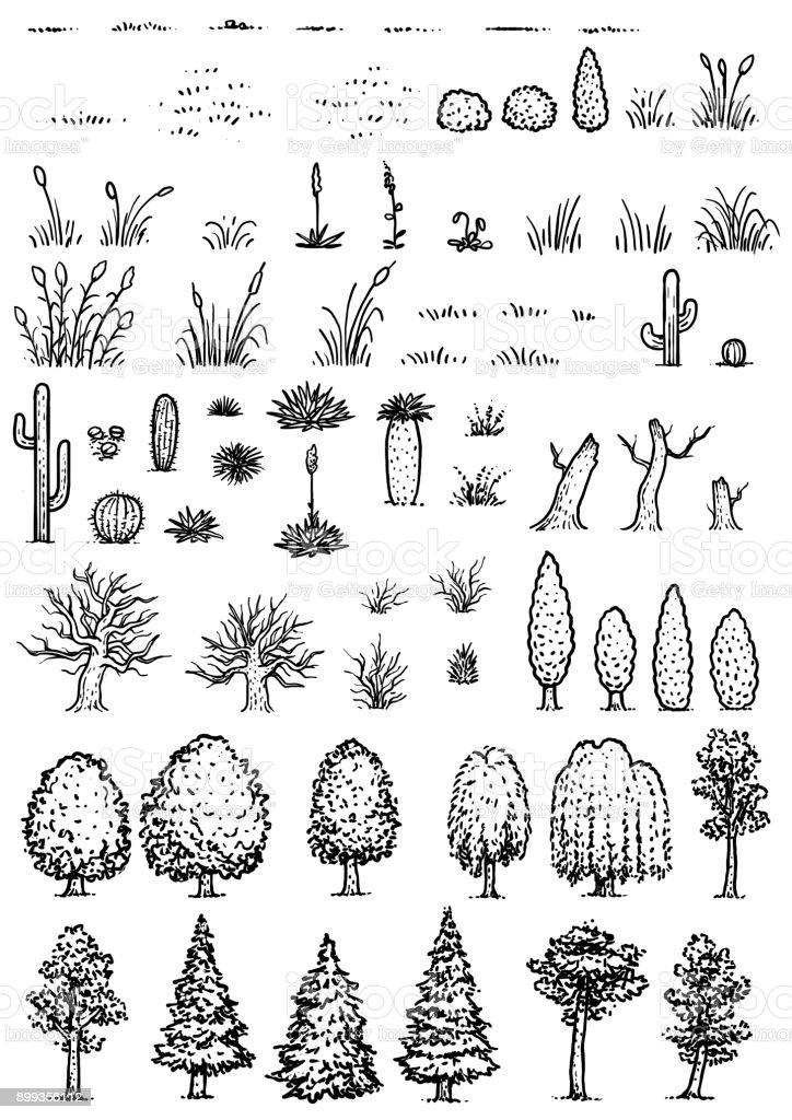 Mapa de ilustración de elementos, dibujo, grabado, tinta, arte lineal, vectores - ilustración de arte vectorial
