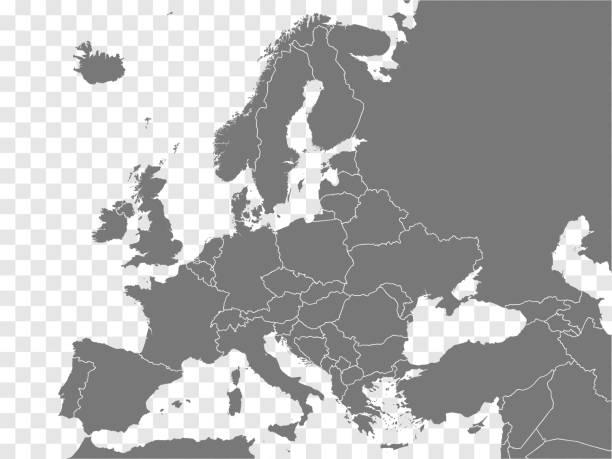 bildbanksillustrationer, clip art samt tecknat material och ikoner med karta europa vektor. grå liknande europa karta tom vektor på transparent bakgrund.  grå liknande europa karta med gränser för alla länder och turkiet, israel, armenien, georgien, azerbajdzjan. eps10. - europa