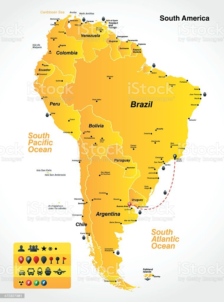 Map оf South America royalty-free stock vector art