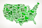 US Map Farming and Agriculture Green Icon Pattern . The green vector icons create a seamless pattern and include popular farming and agriculture. Farm house, farm animals, fruits and vegetables are among the icons used in this file. The icons are carefully arranged on a light background and vary in size and shades of green color.