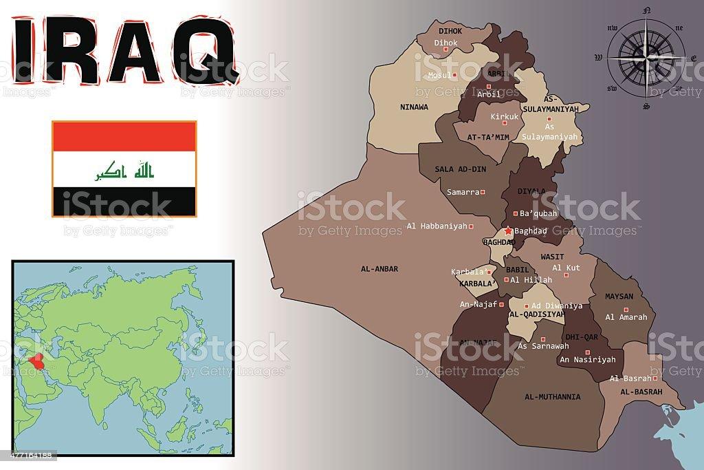 bandera y mapa ubicacin de irak ilustracin de bandera y mapa ubicacin de irak y