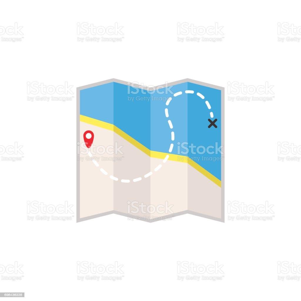 Map flat icon, travel navigation vector art illustration