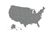 USA map. Flat style - stock vector.