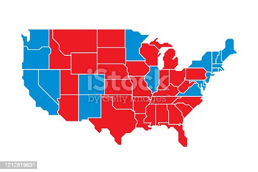 Vector illustration of a red and blue election United States map against a white background in flat style.