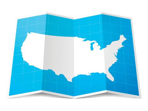 USA Map folded, isolated on white Background