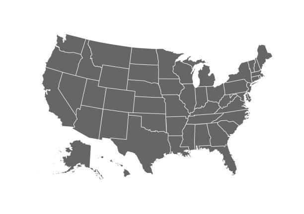 흰색 배경에 고립 된 아틀라스 벡터 아이콘에 대 한 미국 지도 - 미국 stock illustrations