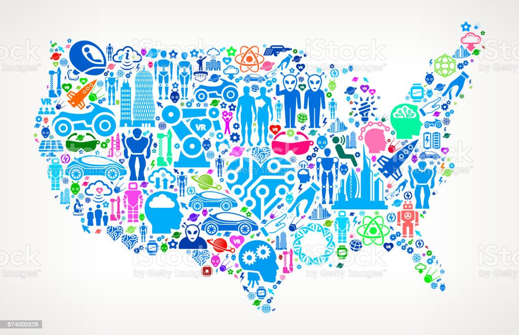 US Map Future and Futuristic Technology Vector Icon Background royalty-free us map future and futuristic technology vector icon background stock vector art & more images of alien