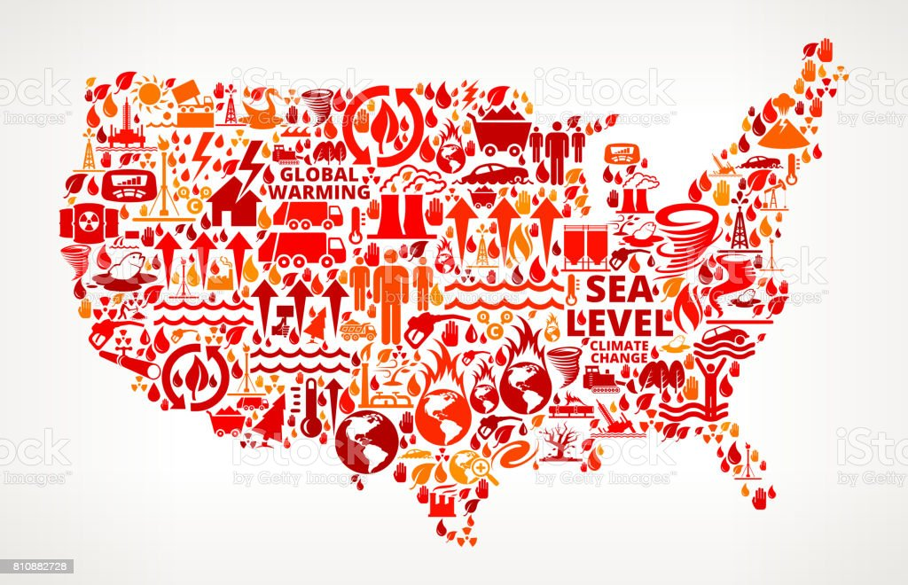 Us Map Global Warming Climate Change Vector Graphic stock vector art ...