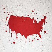 Usa Map Graffiti White Splats On Black Wall Stock Vector Art - Bleeding us map
