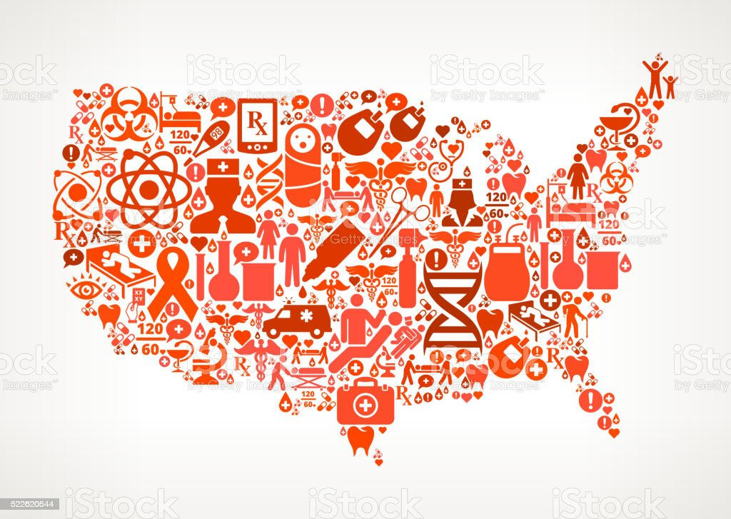 US map Healthcare and Medicine Seamless Icon Pattern vector art illustration