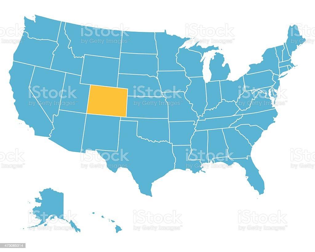 Usa Map Highlighting State Of Colorado Vector Stock Vector Art - Colorado us map
