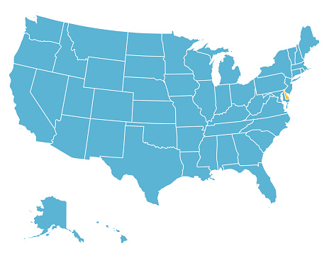 USA Map Highlighting State of Delaware - VECTOR