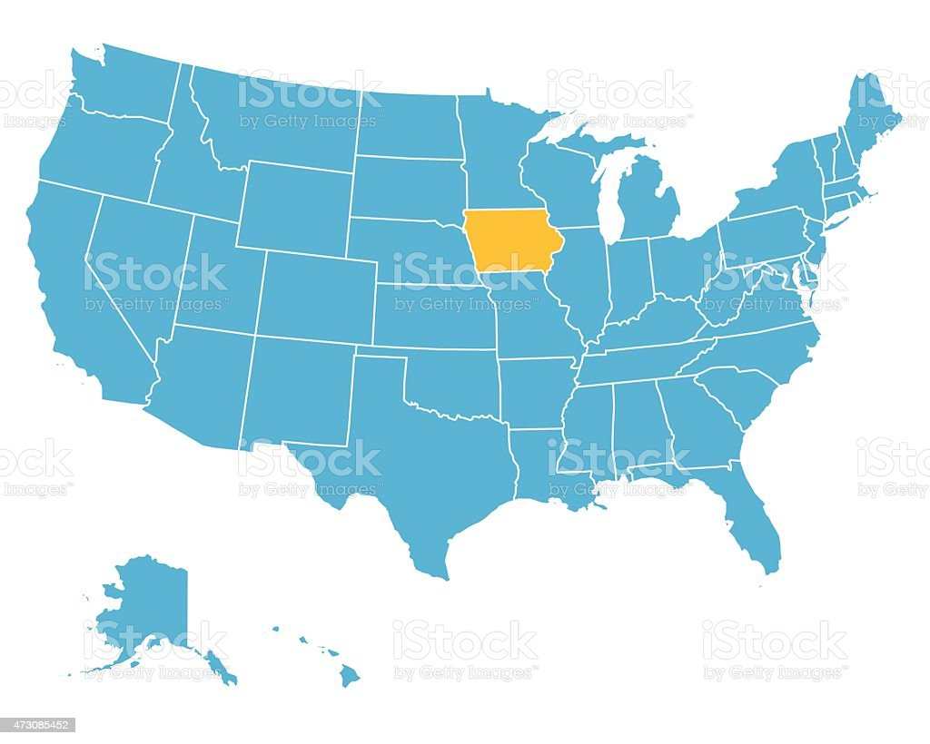Usa Map Highlighting State Of Iowa Vector Stock Vector Art - Iowa on the us map
