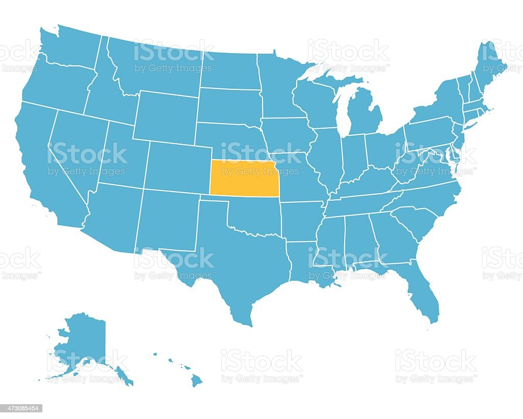 Kansas On The Us Map.Usa Map Highlighting State Of Kansas Vector Stock Vector Art More