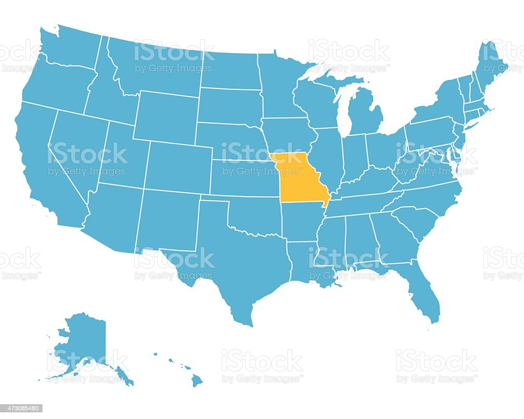 Usa Map Highlighting State Of Missouri Vector Stock Vector Art - Missouri On A Us Map