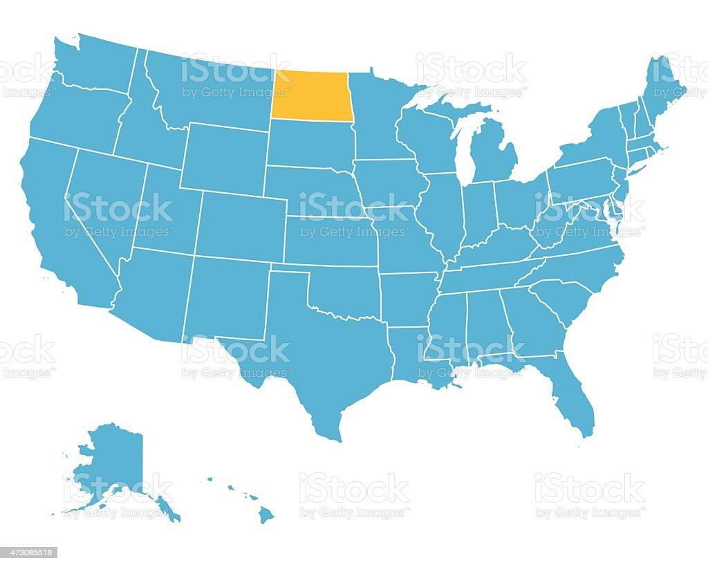 Usa Map Highlighting State Of North Dakota Vector Stock Vector Art - Us map north dakota