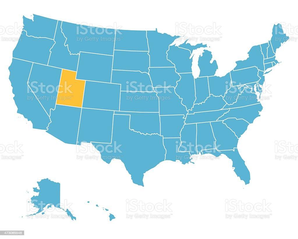 Utah In Usa Map.Usa Map Highlighting State Of Utah Vector Stock Vector Art More