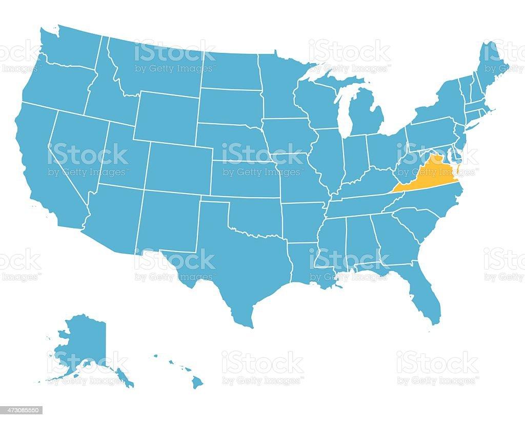 Usa Map Highlighting State Of Virginia Vector stock vector art