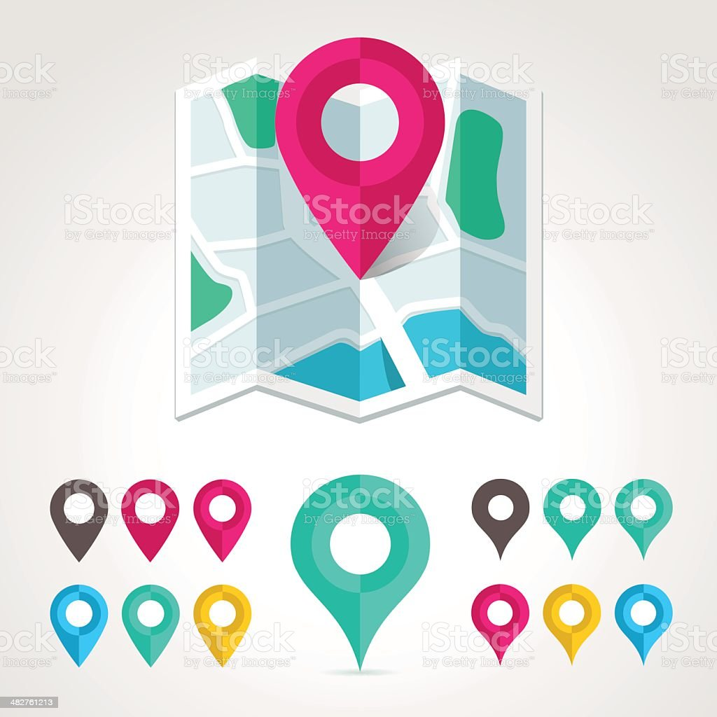 Map icon and markers vector art illustration