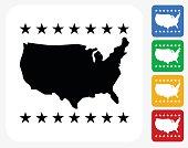 U.S.A Map Icon Flat Graphic Design